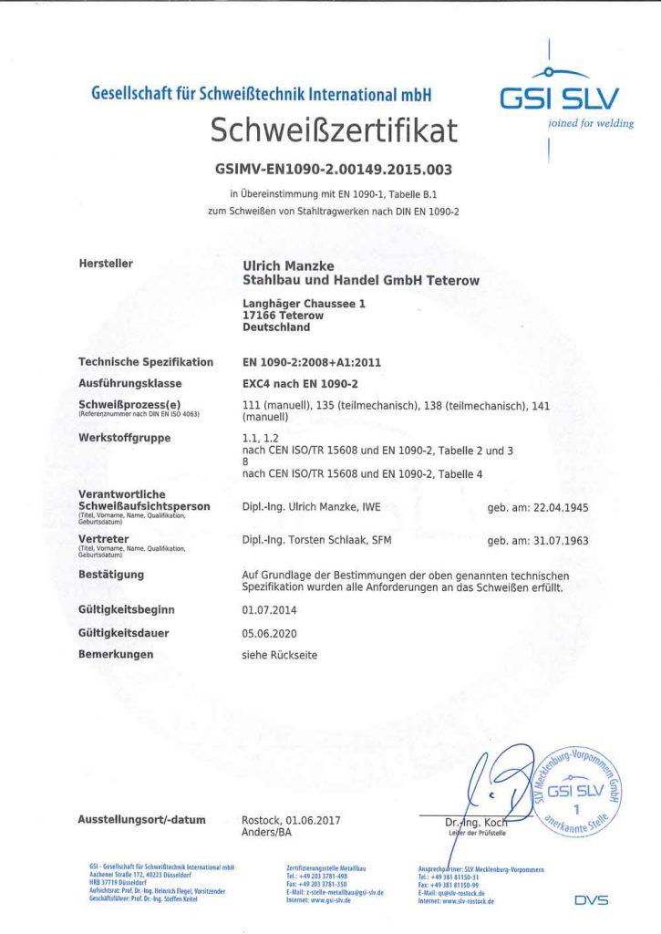 Zertifikat EXC 4